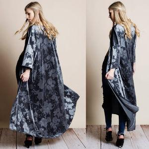 Jackets & Blazers - Fleur Velvet Kimono Maxi Floral Duster
